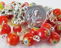 Handmade Two Decade Rosary, 8mm Round Red Orange Millefiori Beads, Sorrowful Mother Center, 3 Bead Paters, Fancy Crucifix