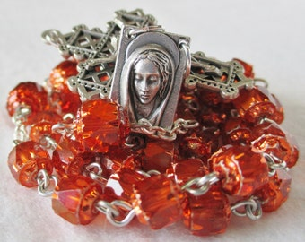 Handmade Catholic Rosary, Preciosa Czech Glass Bright Tangerine Orange AB Cathedral Beads, Blessed Mary Center, Lattice Crucifix