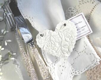 Bridal Shower / Wedding Favors / Baptism Heart  Napkin Rings Set of 10 Imprinted Heart Salt Dough Ornaments