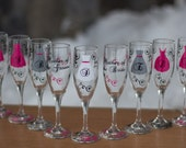 Bridesmaids gift, 10 champagne glasses, Personalized Bachelorette, wedding flutes, fuschia, hot pink, black. Mimosa glasses. Bellini glass
