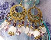 Bohemian chandelier earrings, gypsy hippie long Antique gold chandelier earrings with rose quartz, purple teardrops and purple crystal
