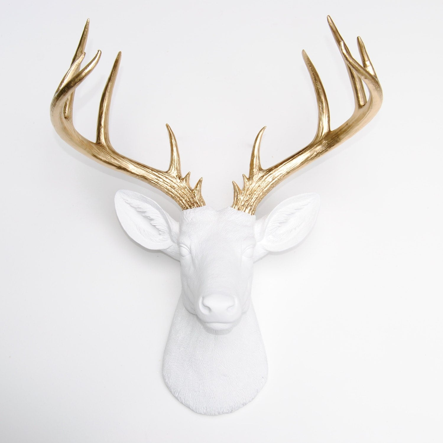 Deer Head White and Gold Deer Head Wall by NearAndDeer