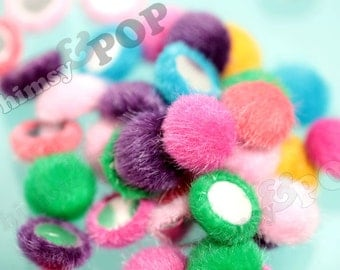 Mixed Colors Plush Fuzzy Furry Circle Round Button Flatback Deco Cabochons, Round Button Cabochons, 15mm (R7-014)