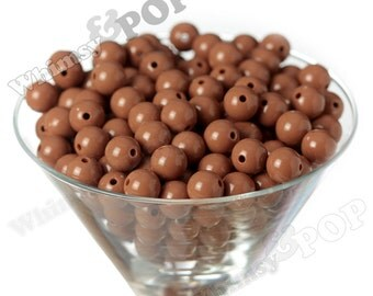 12mm - Mocha Brown Gumball Beads, 12mm Gumball Beads, 12mm Beads, Small Gumball Beads, Opaque Acrylic Round Beads, Bubble Gum Bead, 2mm Hole