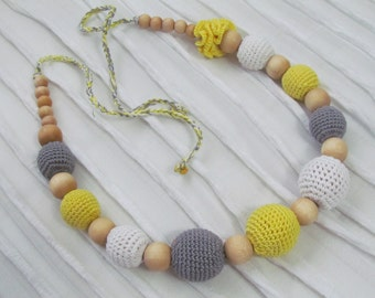 Crochet teething / nursing necklace, Mommy necklace, all natural  wood beads- with 100% organic cotton crochet thread. Ready to ship