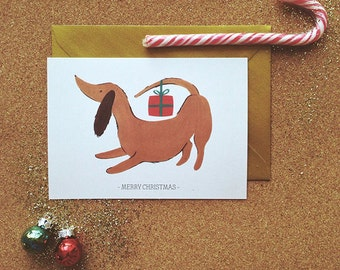 Dachshund Christmas Card