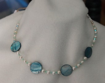 Mother of Pearl Freshwater Pearl Howlite Swarovski Crystal Necklace