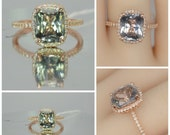 CERTIFIED  color change sapphire, unheated, 4.14 carat, Rose gold, diamonds halo engagement ring JOAN-2076CC