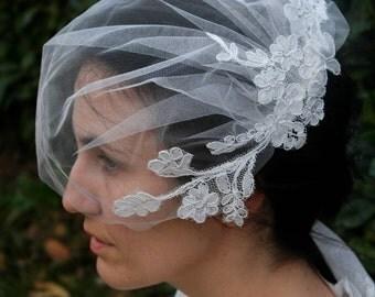 Birdcage Veil, Vintage Style Veil Blusher Illusion Shimmer Tulle Veil Light Ivory Glimmer Tulle