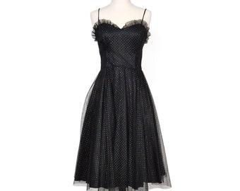 Black Metallic Polka Dot Prom Dress