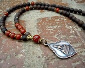 1st Chakra / Root Chakra /  108 Mala / Yoga / Chakra Mala / Thai Buddha / Red Jasper / Agarwood / Mala Beads / Yoga Necklace
