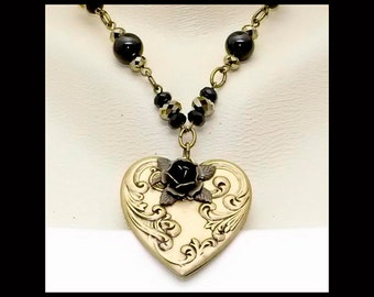 Vintage Victorian Steampunk Filigree Rose Heart Pendant Swarovski Crystal Black Onyx Chain Necklace