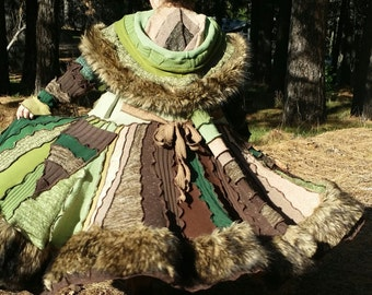 SPECIAL Order Only!! Upcycled Sweater; WOODLAND FUR FauxFur Spiral Gipsy Coat (w/Tan Fur)