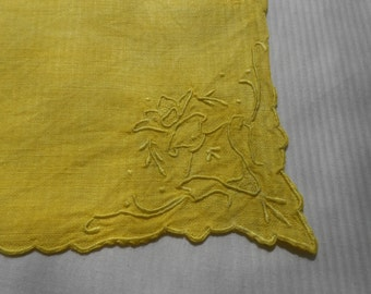 Vintage Yellow Hand-Dyed Linen Doily