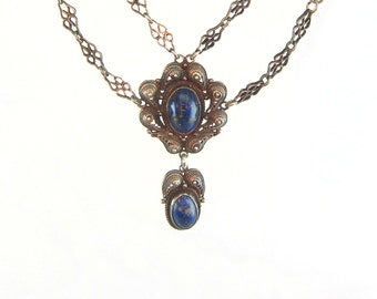 Lapis Necklace, Silver Cannetille Filigree. Gemstone Jewelry. Antique 1900s 1910s Edwardian Jewelry. Festoon Bib Style.
