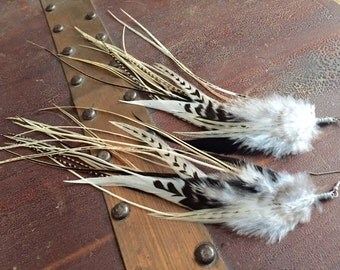 Natural Feather Earrings: Real Bird Feathers, Sleek Boho Feather Jewelry Simplistic Wire Wrapped