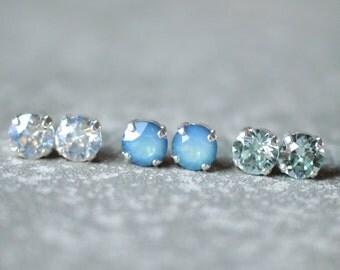 Aquamarine Blue Opal Earrings Bridal Earrings Moonlight Bridesmaids Set of Three Swarovski Crystal 8mm Stud Earrings Mashugana