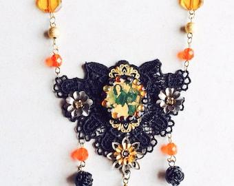 Lace Flamenco Assemblage Necklace, Black Orange Photo Necklace