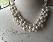 Special 24 dollars, cluster Ivory Pearl bridesmaid necklace, chunky Pearl necklace