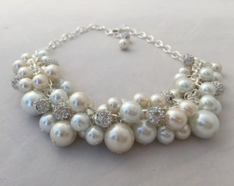 Ivory and white statement necklace with crystal spacer beads- bridesmaid jewelry