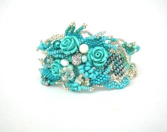 Floral bracelet Turquoise jewelry Beaded bracelet Rose jewelry Romantic bracelet, Freeform peyote bracelet, Unique gifts for womens