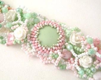 Pastel Beaded bracelet Seed bead bracelet Statement cuff bracelet Shabby chic Freeform jewelry Birthday gift