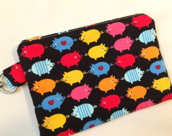 Black, Red or White Piggy Love Small Zippered Pouch, Pig Wallet, Pig Gift, Stocking Stuffer