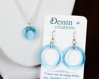 SET Cyan Blue Earrings and Pendant made from a Recycled Bombay Sapphire Bottle, Eco Gift, Dessin Creations