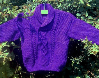 Child's boy girl toddler handknit deep purple amethyst aran cables sweater jumper with shawl collar.