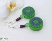 Green Violet Felt Earrings with Glass and Wooden Beads OOAK Natural Eco-friendly