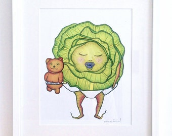 """BABY CABBAGE  - Art Print  - Mon Petit Chou - """"welcome to this world little love"""" -"""