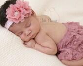 chiffon baby headband, chiffon flower headband, baby headband, shabby chiffon flower headband, dusty rose headband, baby headband, girls
