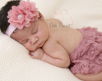 chiffon baby headband, chiffon flower headband, baby headband, shabby chiffon flower headband, dusty rose headband, baby headband, girls