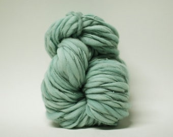 Thick and Thin Yarn Handspun Wool Slub  Hand Dyed tts(tm) Merino Bulky Sea Mist 01