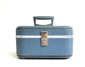 Vintage Slate Blue Train Case