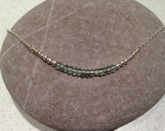 Hedony - smooth moss aquamarine and sterling silver bead necklace