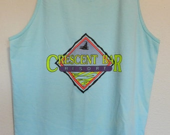 vintage Crescent Bar Tank Top t shirt NEON Seattle 80s 90s retro sleeveless Resort tee surf Washington Columbia River