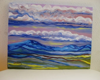 Abstract landscape painting, Original oil painting mountain landscape