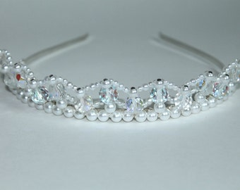 Pretty Pearls and Crystal AB Tiara, Birthday Tiara, Flower Girl Tiara, Prom Tiara