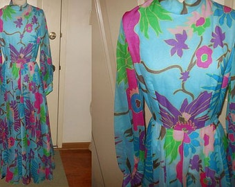 Vintage 1970's Clifton Wilhite Dallas Floral Print Chiffon Dress Gown