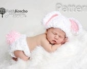 PDF CROCHET PATTERN Bunny Hat and Diaper Cover, Baby Newborn Hat, Baby Bunny Hat, Bunny Beanie, Crochet Bunny Hat, Newborn Baby Hat
