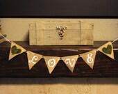 LOVE Burlap Banner/ Moss Hearts/ Medium Pennant Cake Topper/ Wedding/ Bridal Shower / Rustic Woodland/ Bunting/ Garland - Ready to Ship