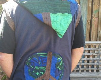 On sale....RECYCLED festival  sleeveless hoodie... up cycled and super funked