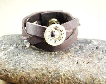 Leather Mystery Braid Cuff ~ Brass Shotgun Shell ~ Beaded Rivets ~ Badass Leather Cuff