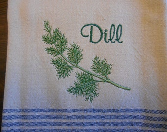 Dill Herb Kitchen Towel Embroidery Herb Dill Towel Kitchen Embroidery Blue Border Towel