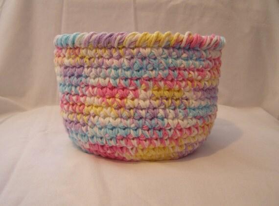 Handmade Cotton Baskets : On sale stash basket handmade crocheted cotton