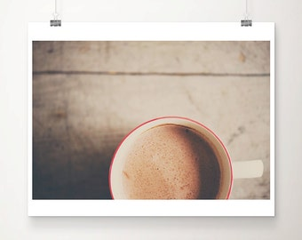 food photography hot chocolate photograph coffee photograph kitchen wall art rustic decor coffee print hot chocolate print