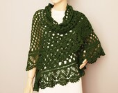 crochet shawl cowl shawl Bridel gift shawl shrug capelet  ,in dark green