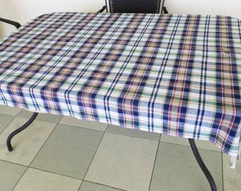 Tablecloth 62 x 48 Fall Plaid Tan Navy Green Red Woven Cotton