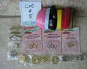 """Lot #8 DOLL BUCKLE SUPPLIES for belts includes faux leather belting clasps D-rings for 1/4"""" and 3/8"""" belts"""